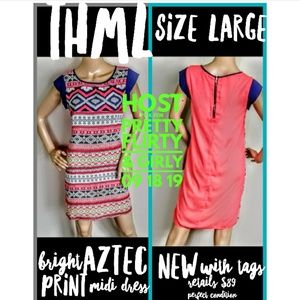 THML Dress Size L Aztec Print New with Tags